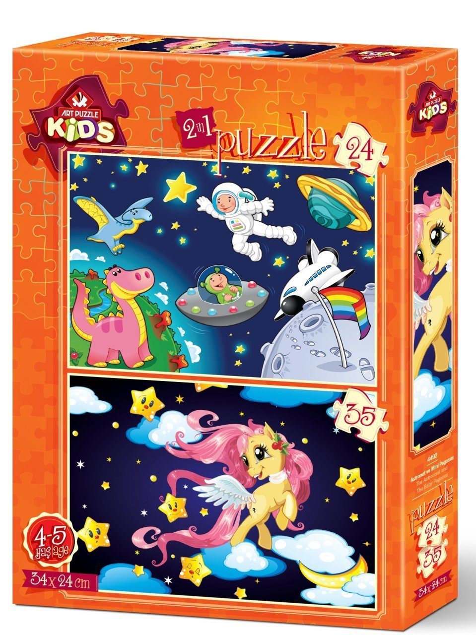 Art Puzzle 2 Puzzles -  The Astronaut and The Baby Pegasus 24 Teile Puzzle Art-Puzzle-4492