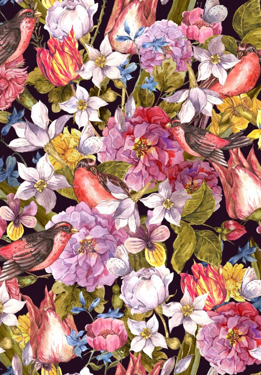 Vintage Flowers and Birds