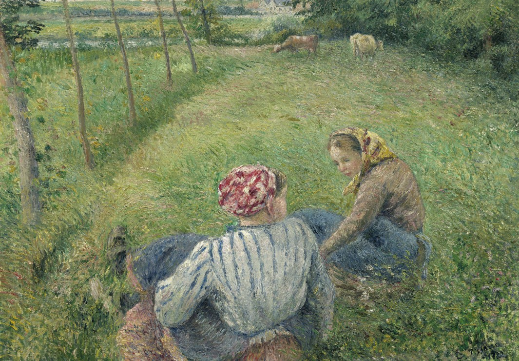 grafika-kids-camille-pissarro-young-peasant-girls-resting-in-the-fields-near-pontoise-1882-100-tei