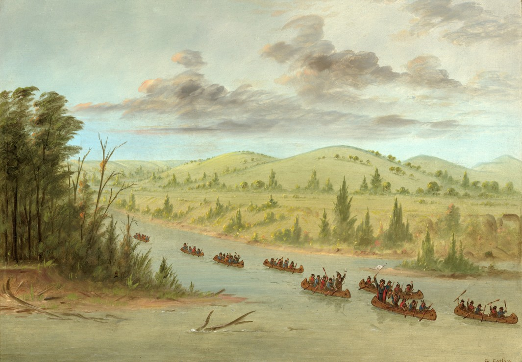 grafika-kids-george-catlin-la-salles-party-entering-the-mississippi-in-canoes-february-6-1682-18