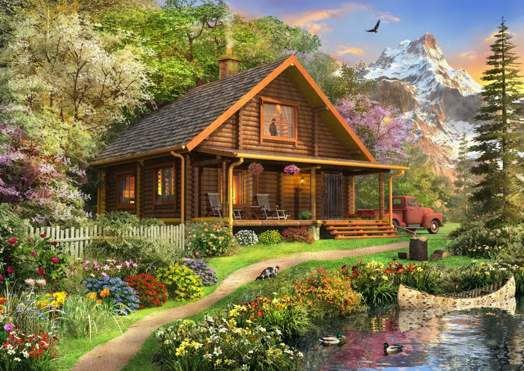 Bluebird Puzzle A Log Cabin Somewhere in North America 500 Teile Puzzle Bluebird-Puzzle-70118