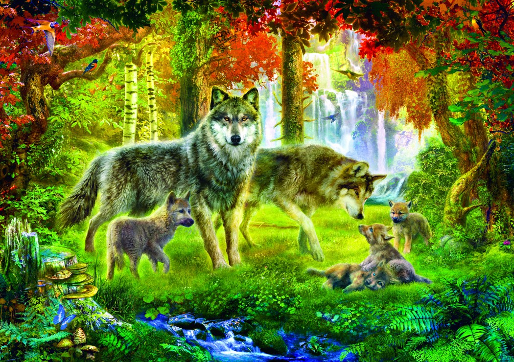 Bluebird Puzzle Summer Wolf Family 1000 Teile Puzzle Bluebird-Puzzle-70156