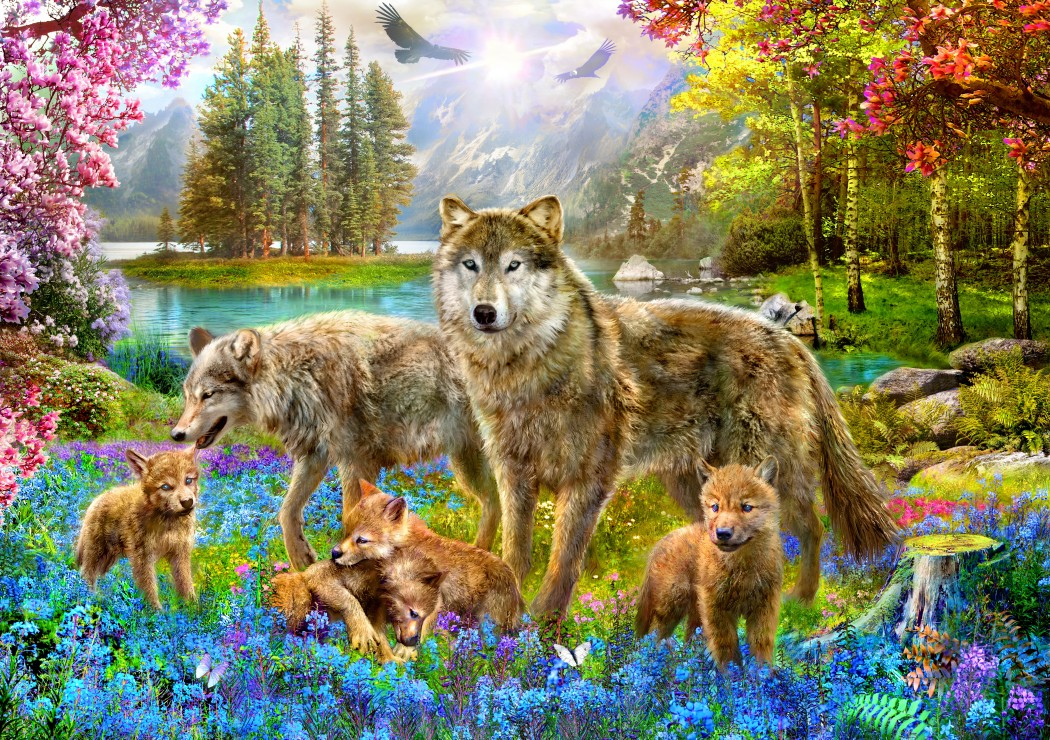 Bluebird Puzzle Spring Wolf Family 1500 Teile Puzzle Bluebird-Puzzle-70195