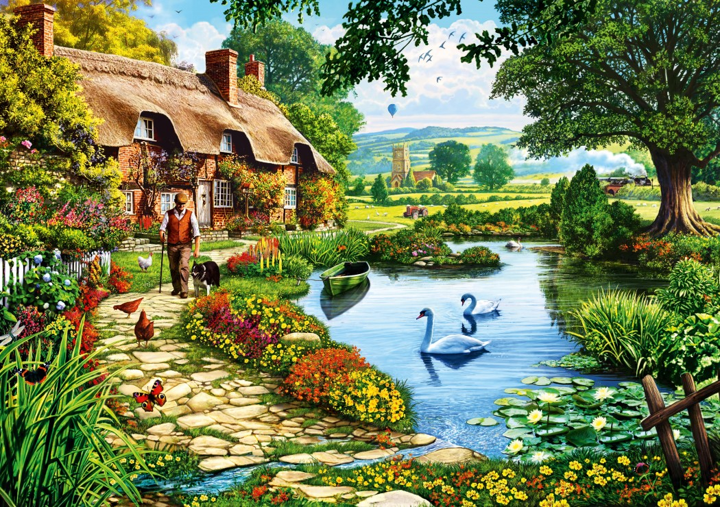 Puzzle 1000 Teile - Cottage by the Lake