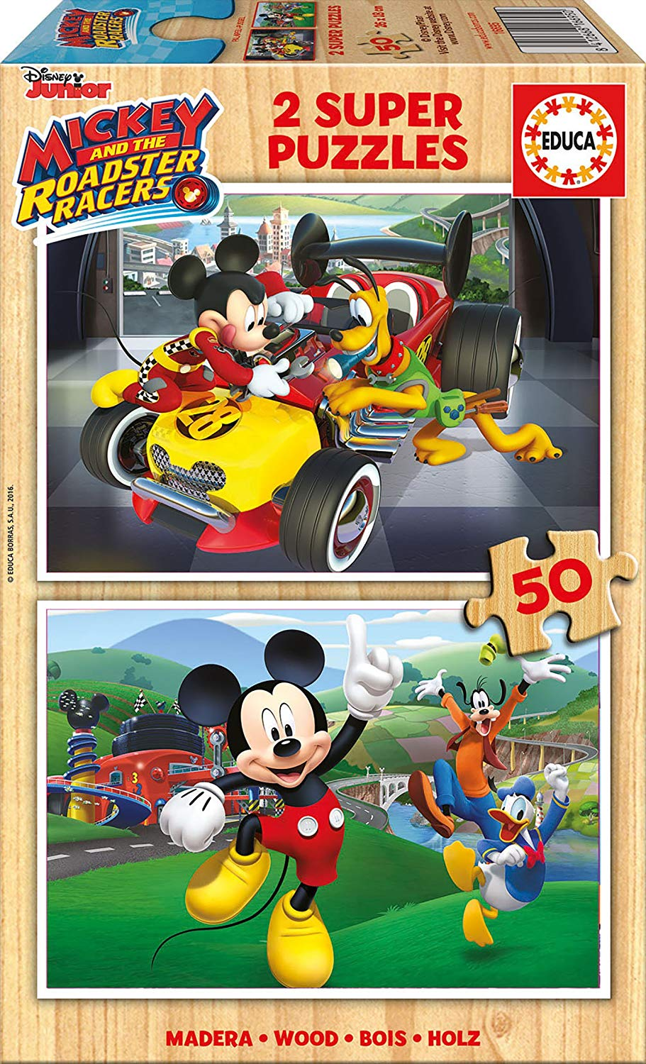 educa-2-holzpuzzles-mickey-and-the-roadster-racers-50-teile-puzzle-educa-17236