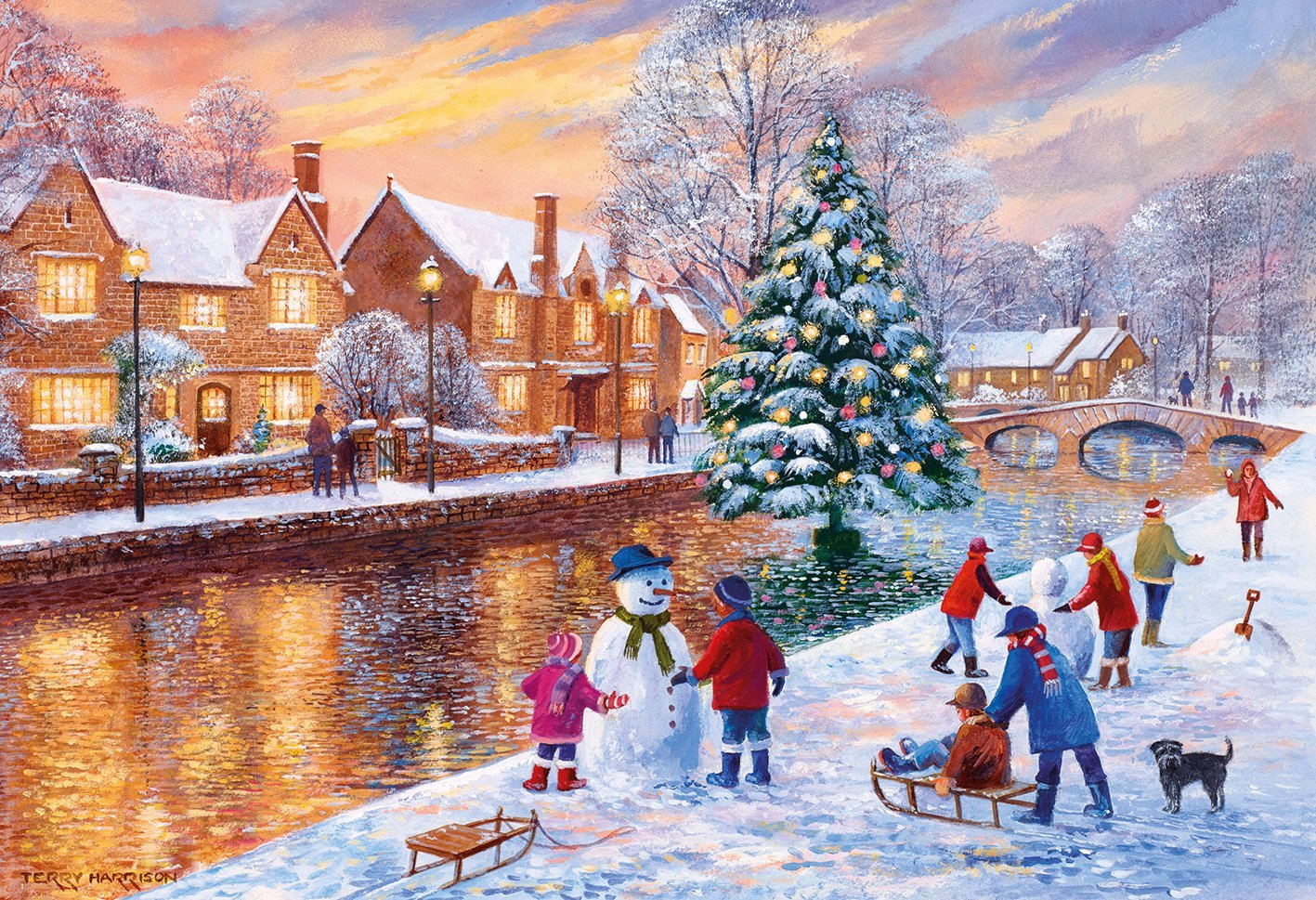 gibsons-terry-harrison-bourton-at-christmas-500-teile-puzzle-gibsons-g3088