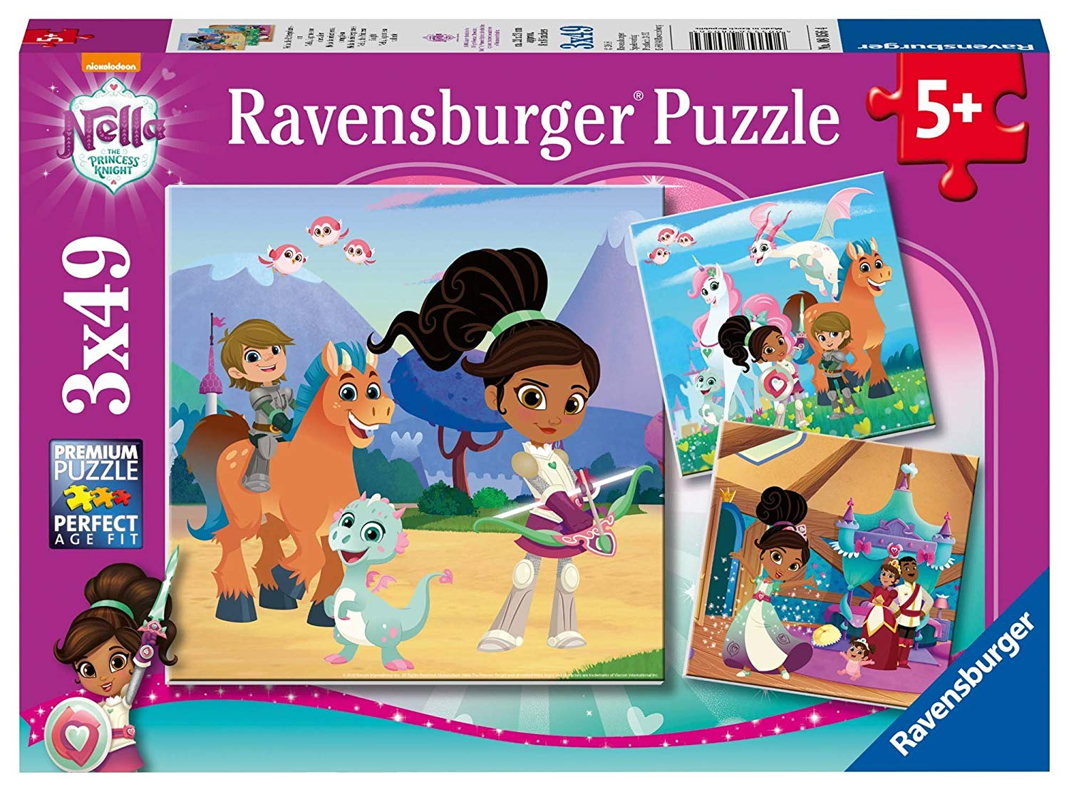 ravensburger-3-puzzles-nella-the-princess-knight-49-teile-puzzle-ravensburger-08056
