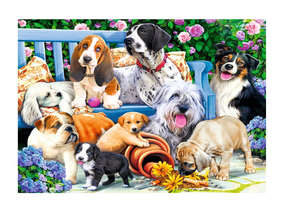 trefl-dogs-in-the-garden-1000-teile-puzzle-trefl-10556