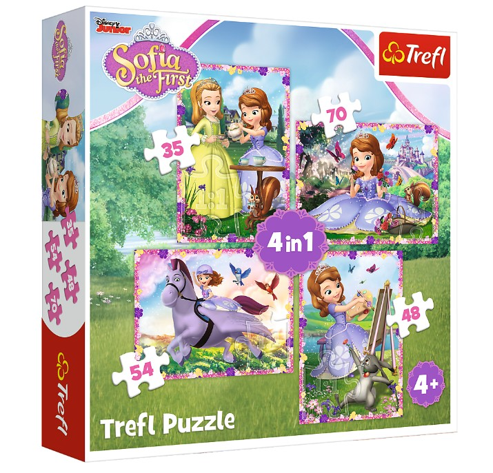 trefl-4-puzzles-sofia-the-first-35-teile-puzzle-trefl-34314
