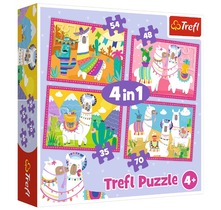 trefl-4-puzzles-llamas-on-vacation-35-teile-puzzle-trefl-34322