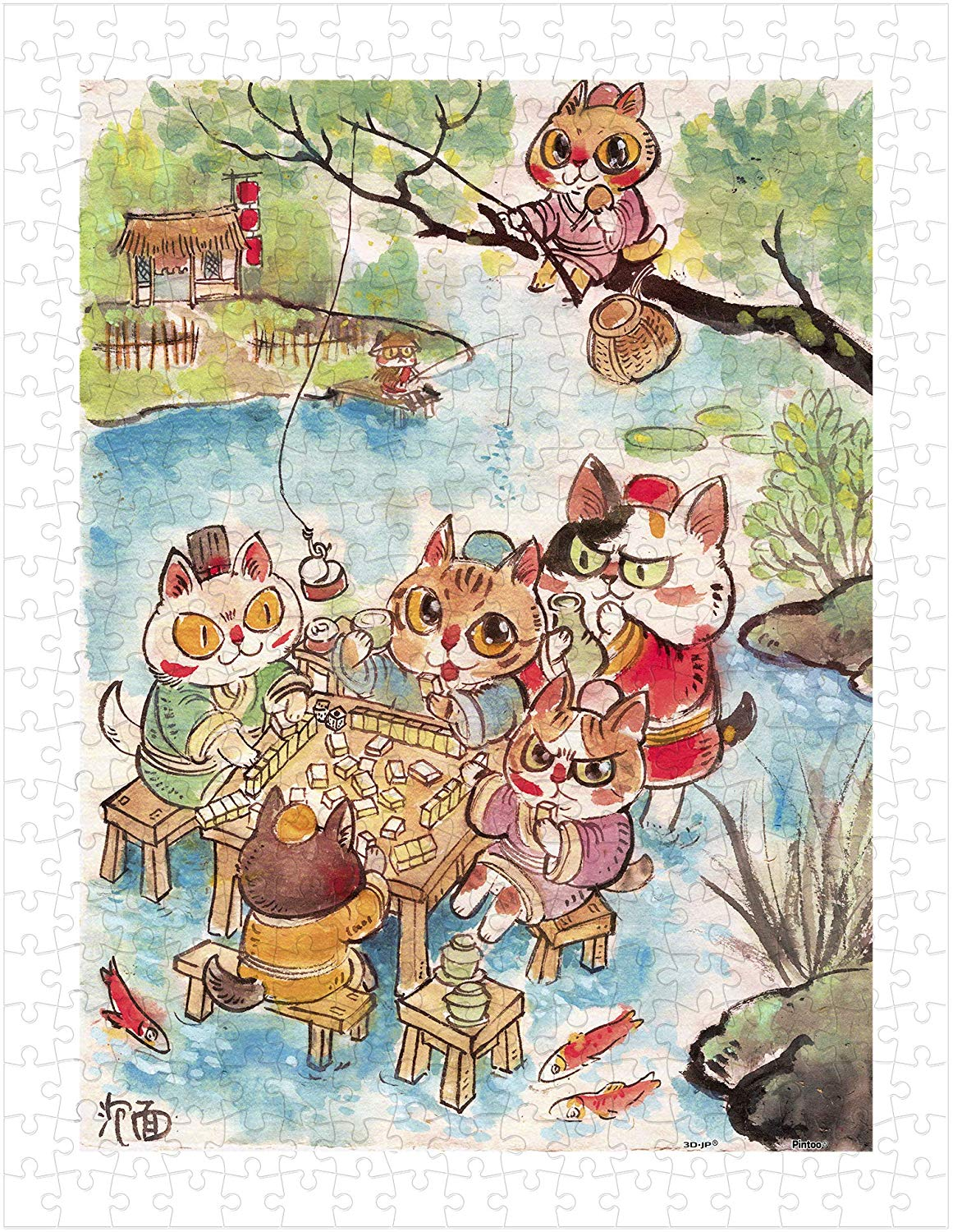 pintoo-puzzle-aus-kunststoff-pao-mian-the-leisure-life-of-the-cats-300-teile-puzzle-pintoo-h2112