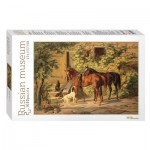 Puzzle  Step-Puzzle-79214 Russian Museum - Adam Albrecht. Horses at the Porch