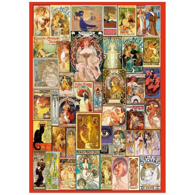 Wentworth-662913 Holzpuzzle - Art Nouveau Poster Collage